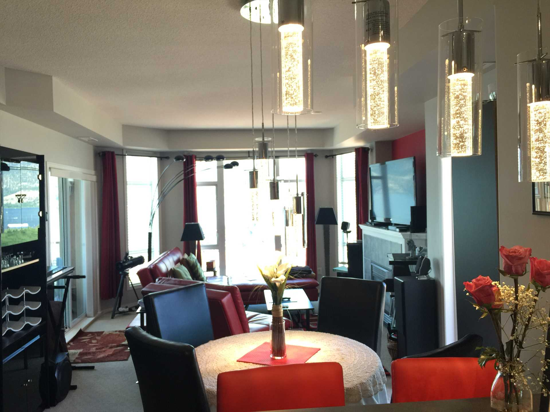 Dining Room showing Living Room and Lake Okanagan